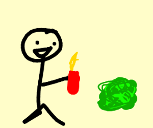 person holding lighter infront of goo