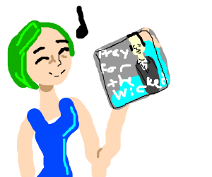 Green-haired lady is having fun