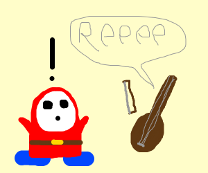 Guy in red hoodie shocked by angry violin