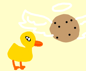 Duckling meets a holy Angel cookie