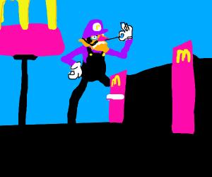 Waluigi attacking McDonald's
