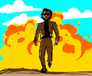 Cool dude walking away from a explosive