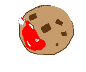 Painting a cookie red