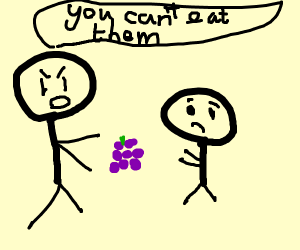 kid isn't allowed to eat grapes