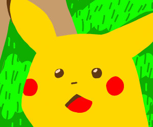 Zoomed in face of Pikachu looking surprised