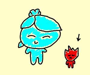 Water girl and a fire boy but the boy is sad