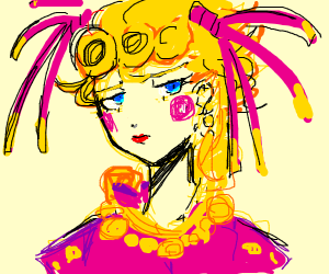 Bruh giorno has a stach and makeup on