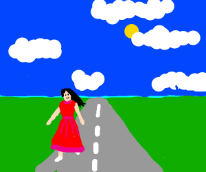 person in red dress walking on road