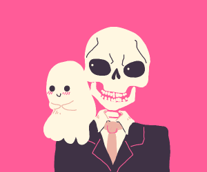 Cute ghost on business skeleton's shoulder