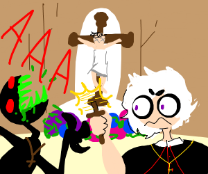 white hair priest excorcises hooded satanist