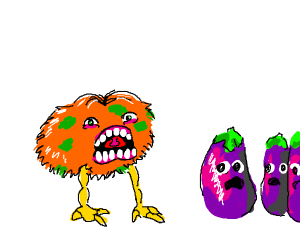 A monster scaring eggplants