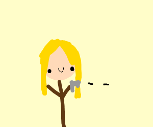 A blond woman shoots something
