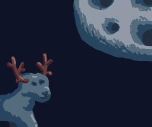 blue stag in moonlight