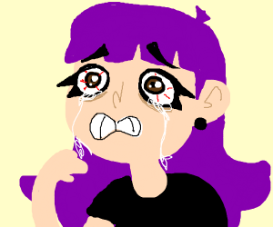 Purple haired girl crying