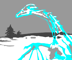 An icy dragon in a land of snow
