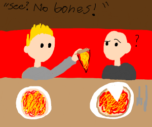 fellow explaining boneless pizza to dumbass