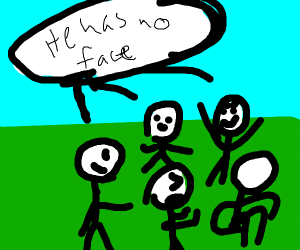 Faces bully person with no face