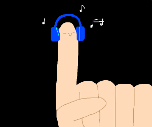 A finger listening to headphones