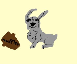 Cute grey bunny with brown muffler