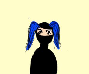 Anime blue haired ninja girl