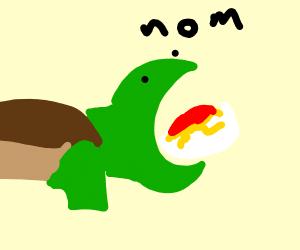 Turtle eating a bowl of spaghetti