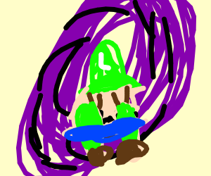luigi in a puddle of tears in the void