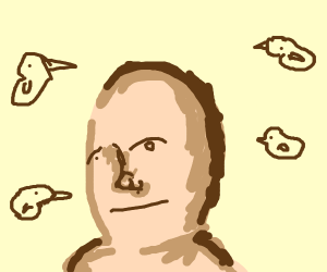 Woman surronded by uncolored drawcepton ducks