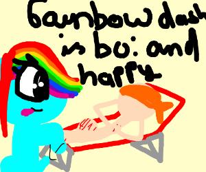 Rainbow Dash admires sunbathing bandana man
