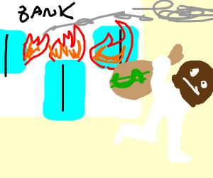 Burglar stealing money from burning bank