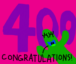 congratulating someone on 400 followers