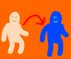 Human became a Blue person