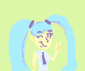 miku hatsune winks and gives peace sign ♡