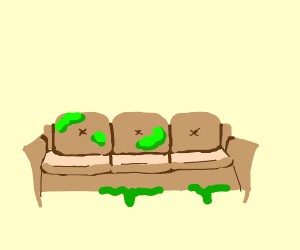 Slime all over a couch