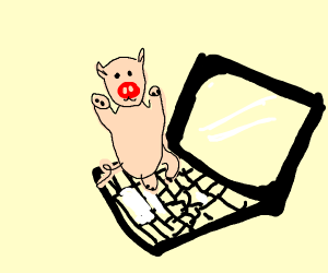 Pig on laptop computer