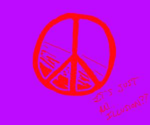 Camo peace sign illusion