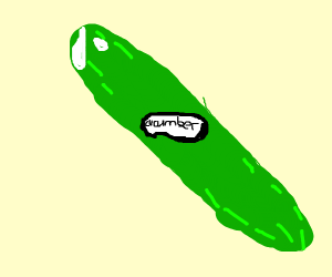 A cucumber, clearly labeled as such