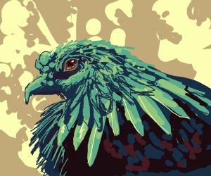 Gorgeous green-headed hen