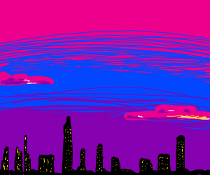 sunset at city