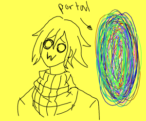 Kokichi stands in front of a portal
