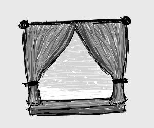 A window with the drapes pulled back
