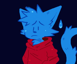 blue cat furry with red hoodie crying