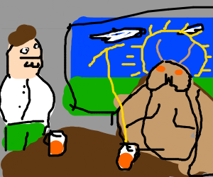 Mothra is having a beer with peter griffin