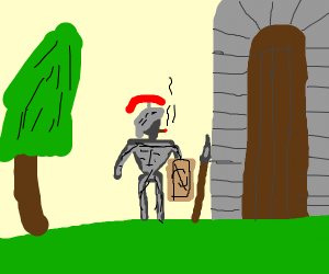 A smoking knight