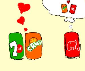 Crush soda cheating on Coca Cola boyfriend