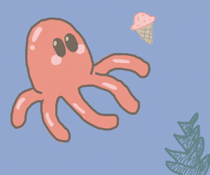 Cute octopus wants strawberry ice cream