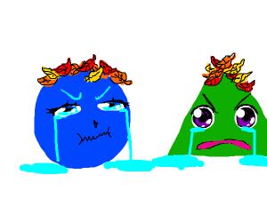 Sad shapes with leaves for hair.