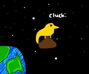 Chicken sitting on poop in space
