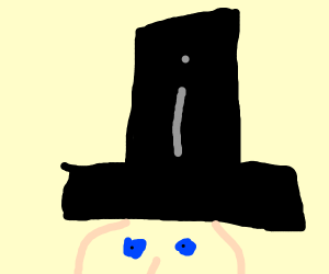 a top hat with the letter i on it