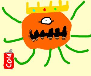Pumpkin king drinks a coke