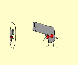 Gun with a bowtie